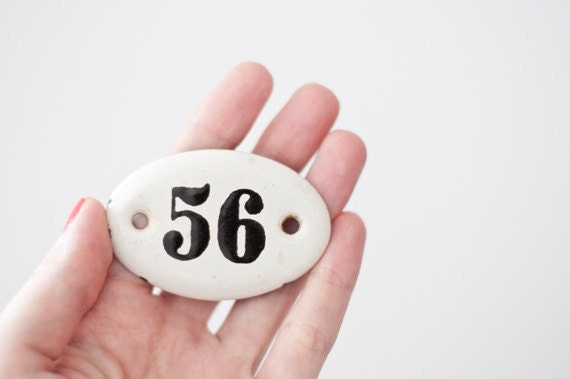 Vintage enamel number sign 56