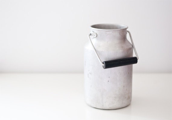 Vintage aluminum milk can