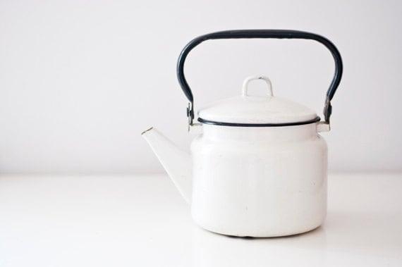 Vintage soviet enamel kettle - black and white