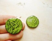 Handmade Ceramic Cabochons, Round, Handmade Neon Green, Apple Green, Chartreuse Color, Leaf Motif, Jewelry Making, Crafting Supply Mosaic
