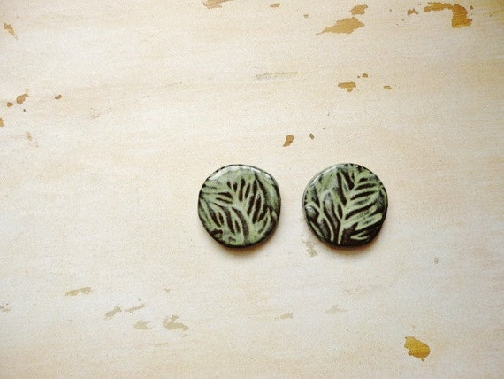 2 Small Handmade Green, Brown, Leaf Motif Ceramic Round Cabochon, Jewelry Making, Crafting Supply Mosaic