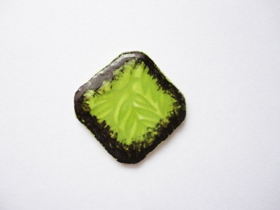 Handmade Square Ceramic Cabochon, Pendant, Kiln Fired Abstract, Chocolate Brown, Chartreuse, Green, Pendant, Necklace Making, Jewelry Supply