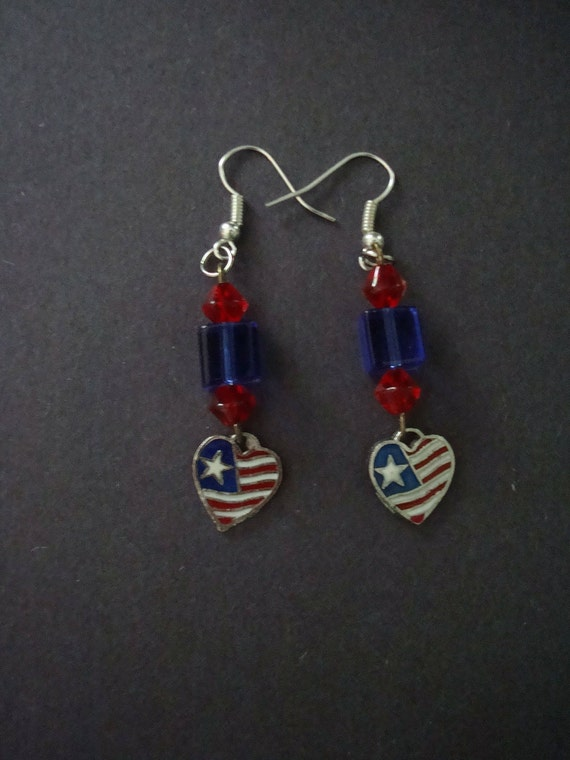 Red and Blue Patriotic Earrings with Heart Flag