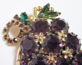 Vintage Weiss Earring and Brooch Grapes Set