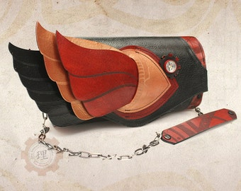 Leather Mythological Clutch - Mercury's Wings