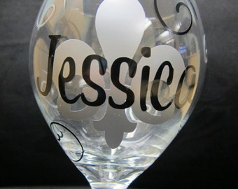 Fleur De Lis Wine Glass Personalized