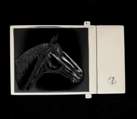 Horse Head, Reversible Belt Buckle, Solid Sterling Silver 925, Black Chalcedony, one of a kind #421