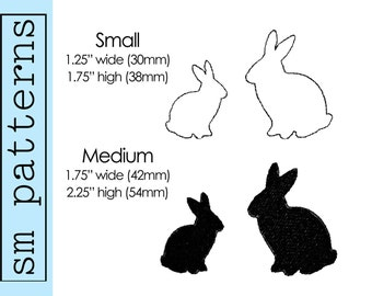 Machine Embroidery Design - Sweet Bunny Silhouettes - Immediate download