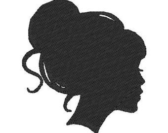 Machine Embroidery Design - Silhouette Girl with Bun - immediate Download