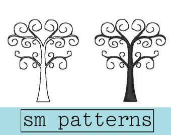 Machine Embroidery Design - Swirly Tree Set