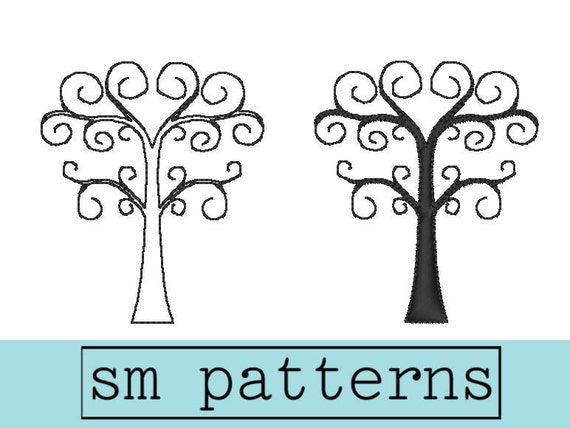Machine Embroidery Design - Swirly Tree Set