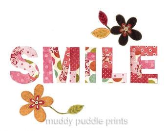 nursery Art, Nursery decor, art print, kids room art, wall art, baby nursery, word art - Smile