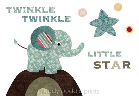 Nursery Art, Nursery decor, kids room wall art print, nursery rhyme twinkle twinkle little star
