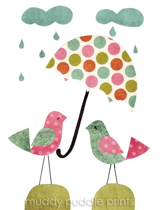 nursery Art, Nursery decor, kids art print, baby nursery - umbrella birds