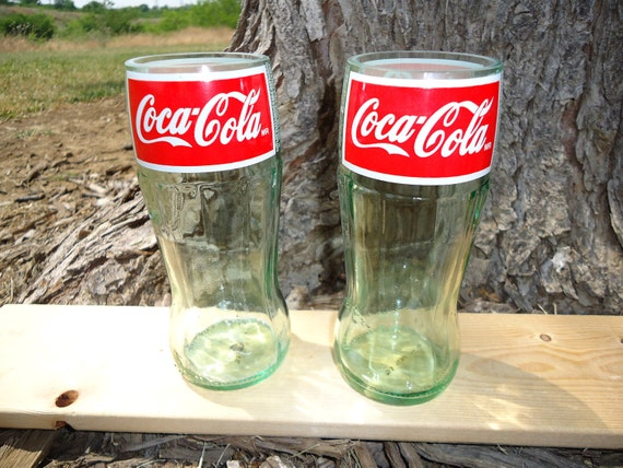 Juice Glasses made from Upcycled Coca Cola Glass Bottles 8oz Set of 2