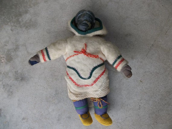 1950's Inuit Eskimo Doll // Antique Soapstone Wool and Cloth Female Doll