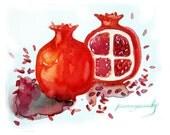Watercolor painting of Pomegranates-Original art-Painting of pomegranates-Fruits painting