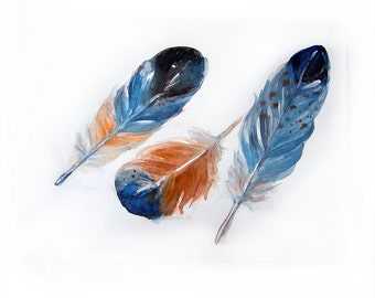 Watercolor painting of feathers.Art original.Feathers painting.