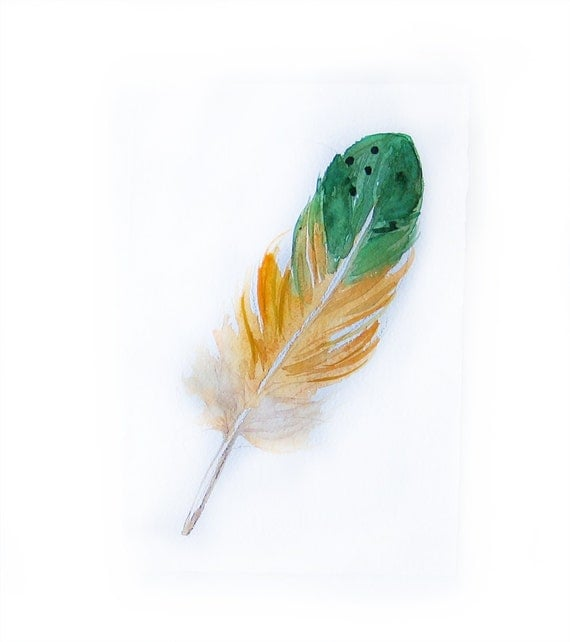 Watercolor painting-Watercolor feather-Art painting feather-Feather in green and yellow