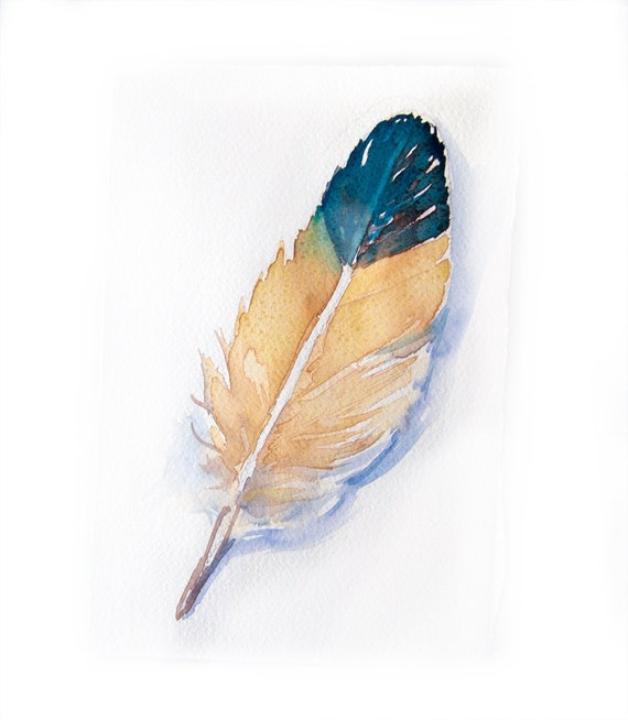 Original watercolor painting-Yellow blue feather watercolor painting-Feather wall art-Home decor