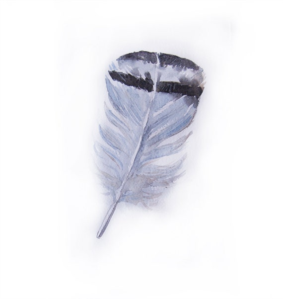 Dove grey feather watercolor painting-Art original-Feather watercolor 7.5/11 inch