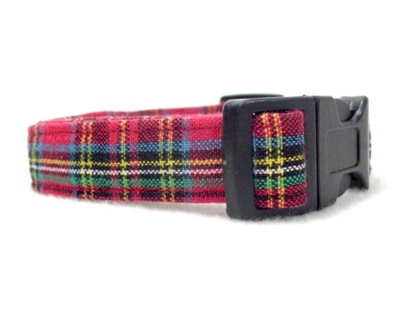 Red Plaid Dog Collar, Christmas Dog Collar, Adjustable Dog Collar, Christmas Collar, Tartan Plaid Collar