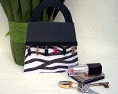 Zebra Handbag Card with Inside Pocket. Clever card with matching handcrafted envelope. Purse.