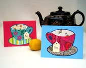 TEA 4 TWO cards with tea bags. 2 handcrafted, colorful cards, 2 envelopes, 2 tea bags.