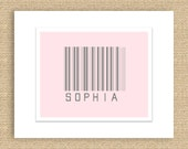 PRINTABLE Bar Code Birth Announcement or Child Name Nursery Print - Pink and Gray