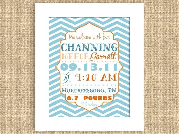 PRINTABLE Chevron Baby Birth Announcement Wall Art Nursery Print - Can do many colors and sizes