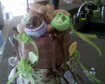 Monkey Themed Baby Diaper Cake
