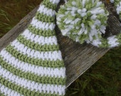 Newborn Elf Hat, Infant hat, toddler hat, white and apple green stripes, can custom size and custom color. Photo prop or everyday wear.