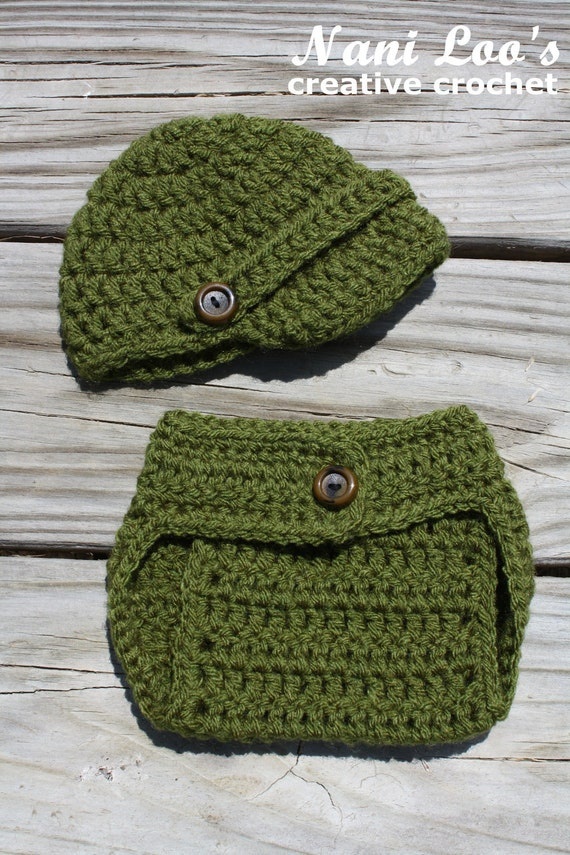 CLEARANCE. Newsboy Cap and Diaper Cover Set, Newborn (0-3), your choice of color or custom order color choice. Photo prop or everyday wear.
