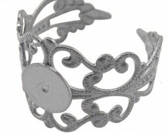 Silver Filigree Adjustable Ring Blank Base