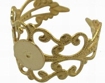 Brass Filigree Adjustable Ring Blank Base
