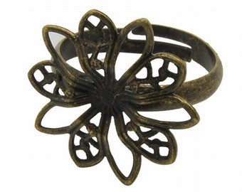 3PCS Antique Bronze Sunburst Filigree Adjustable Ring Blank Base