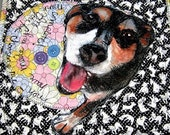 This is an all thread and fabric quilt. Streaker was purchased for a gift. He is a rescue and a joy. sample