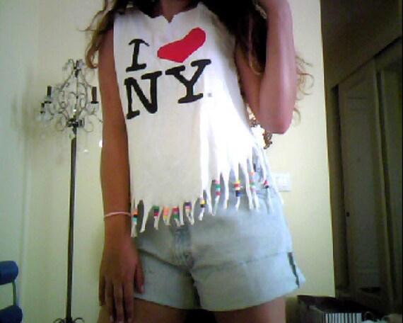I heart NY top beaded with fringes