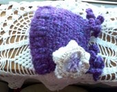 Baby hat for boy or girl, soft yarn . great purple and teal color