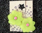 Chartreuse Flower Earrings, Lucite, Cotton Candy Pink centers
