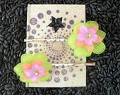 Tropical Flower Pins, Lucite Beads, Chartreuse Peach Pink