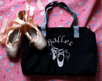 Nylon Ballet Bag - Black-Embroidery bag-embroidery lining bag- Ballet Slippers Bag-Ballet pattern