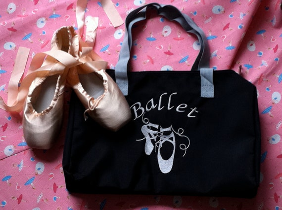 Nylon Ballet Bag - Black-Embroidery bag-embroidery lining bag- Ballet Slippers Bag-Ballet pattern