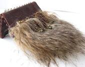 small handbag (9cmX13cm), purse, leather, copper, artificial fur, jacquard, RESERVATION