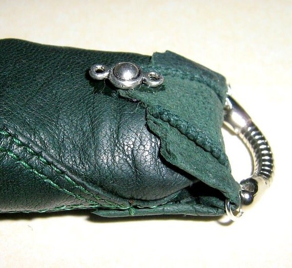 Pendant, keychain, a small purse (0,78x1,57 inch), leather, silk yarn, creative jewelry RESERVATION