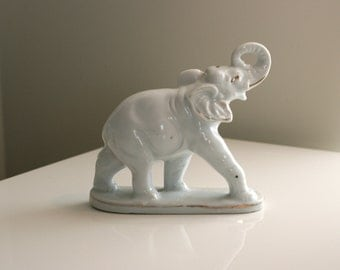 Vintage White Ceramic Elephant