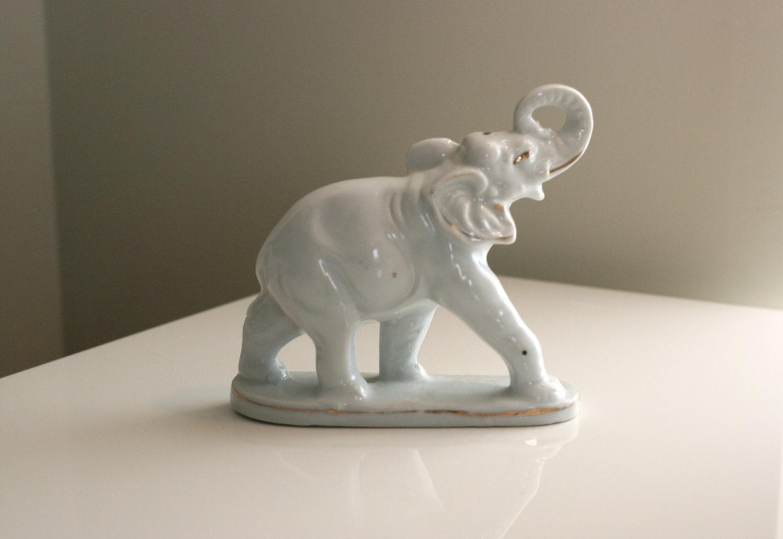 Vintage White Ceramic Elephant