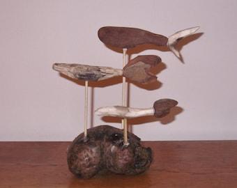 Driftwood shoal of fish sculpture on a driftwood base