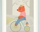 Animal Bike Ride Mr. Bear Children's Nursery Art Gliclee Print