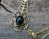 Victorian Antique Style Filigree Necklace with Onyx Colored Black Bead